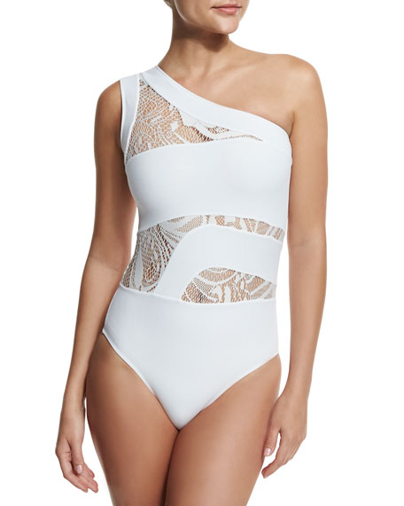 Elly One-Shoulder Lace-Panel One-Piece Swimsuit