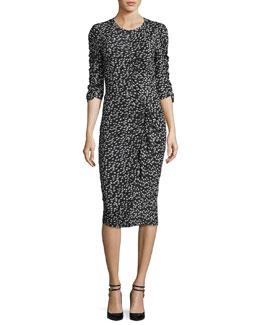 Floral Fizz Ruched Midi Dress, Black