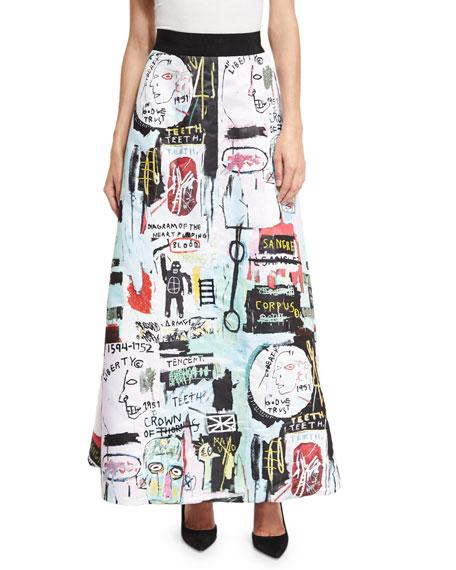 Meryl Graffiti-Print Maxi Skirt