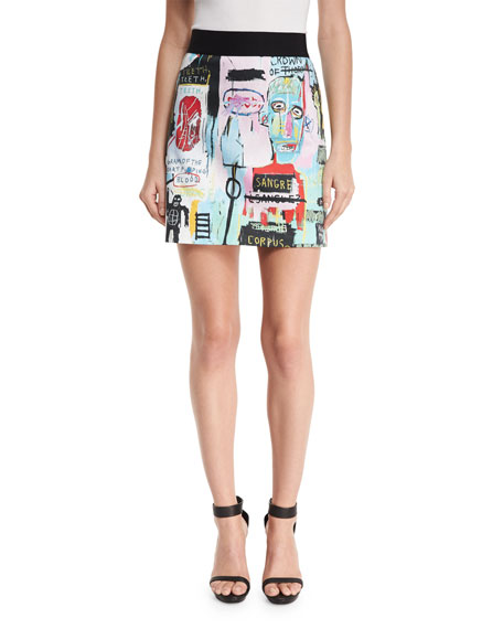 Riley Graffiti-Print A-Line Miniskirt