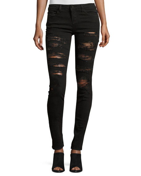 Jane Distressed Skinny Jeans, Black
