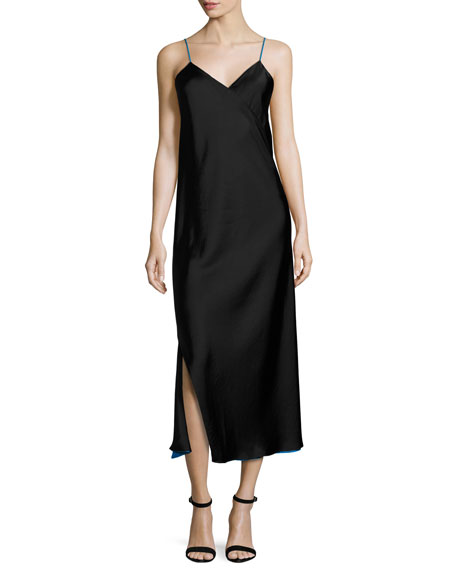 DKNY Sleeveless Reversible Satin Slip Dress, Black