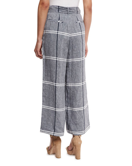 Cropped Plaid Wide-Leg Pants, Chambray