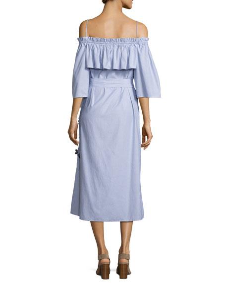 Striped Shirting Midi Dress, Blue