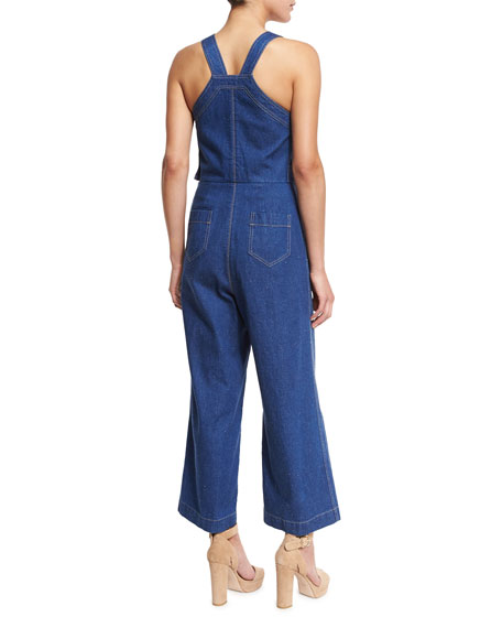Cropped Cotton Denim Jumpsuit, Indigo