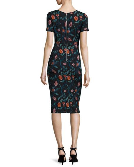 Floral Stretch Silk Cutout Sheath Dress, Black