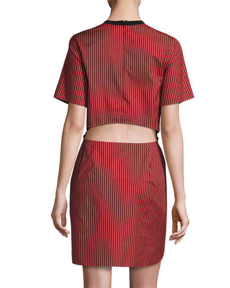Short-Sleeve Striped Knotted Crepe Dress, Poppy/Black