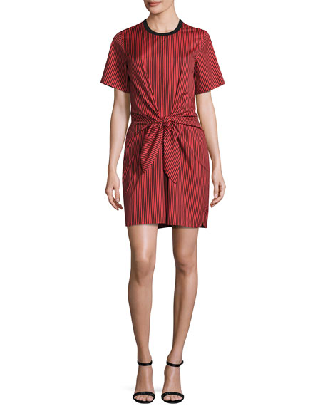 Short-Sleeve Striped Knotted Crepe Dress, Poppy/Black