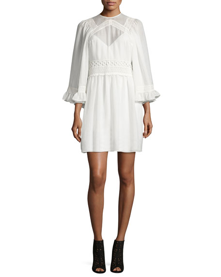 3/-Sleeve Gauze-Knit Mini Dress, Ivory