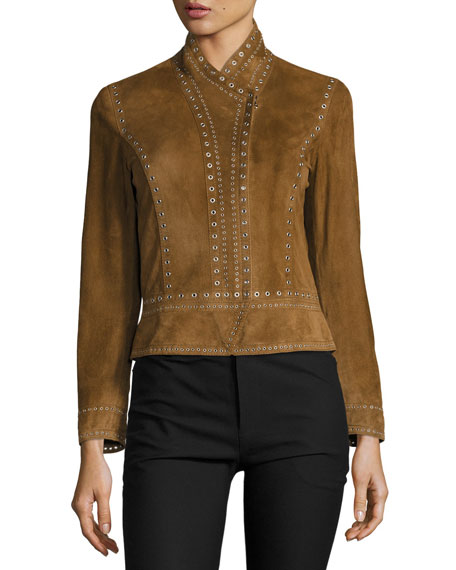 Cropped Studded Suede Jacket, Military
