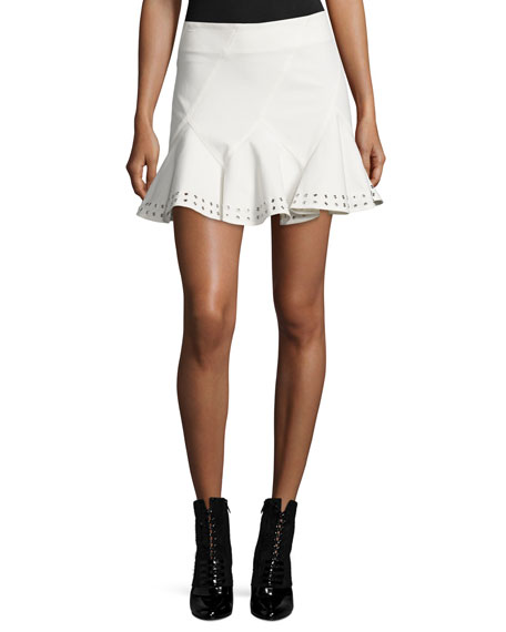 Stretch Twill Eyelet Skirt, White