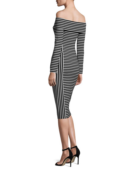 Striped Off-the-Shoulder Midi Dress, Soft White/Black