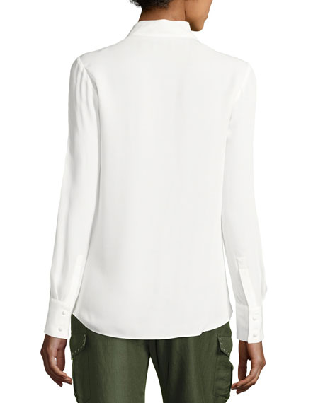 acf3cb926e07a0 Derek Lam 10 Crosby Long-Sleeve Draped Silk Charmeuse Blouse