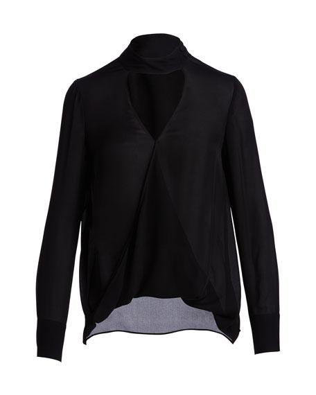 Long-Sleeve Draped Silk Charmeuse Blouse