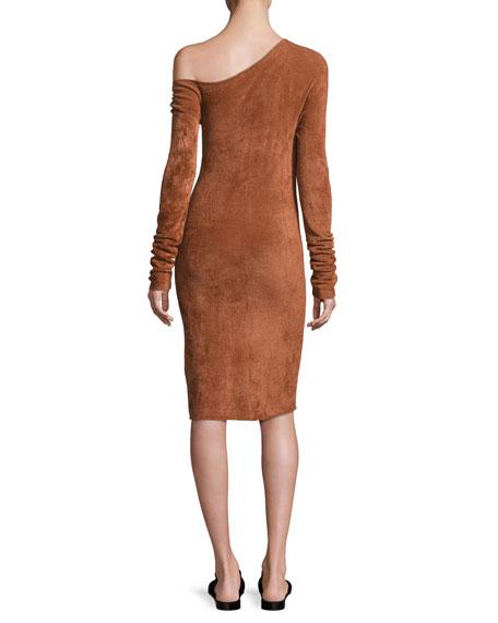 Long-Sleeve Velveteen Sheath Dress, Burnt Umber
