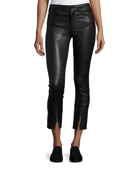 Skinny Zip-Cuff Leather Leggings, Black