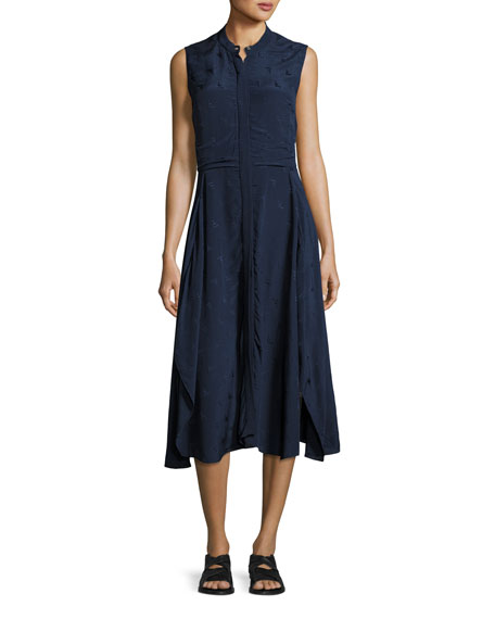 Casside Sleeveless Jacquard Midi Dress, Blue