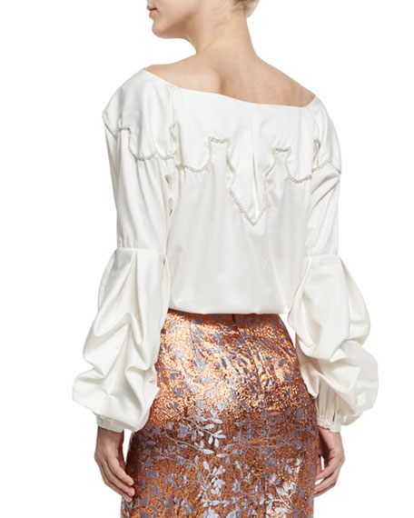 Anna Beth Embroidered-Yoke Bishop-Sleeve Blouse
