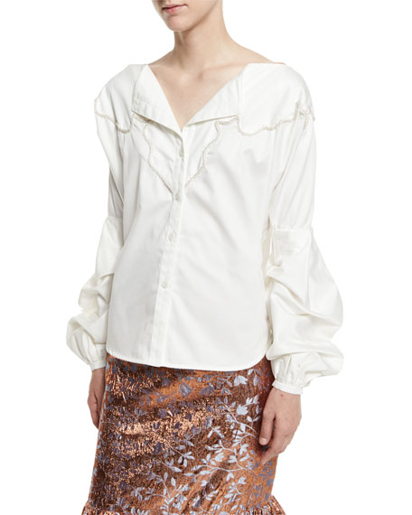 Anna Beth Embroidered-Yoke Bishop-Sleeve Blouse