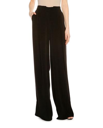 Pleated Fluid Wide-Leg Pants, Black