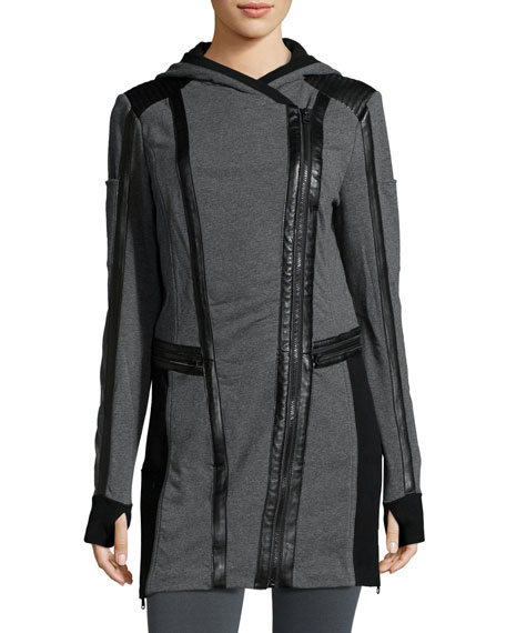 Blanc Noir Leather-Trim Long-Line Moto Hoodie