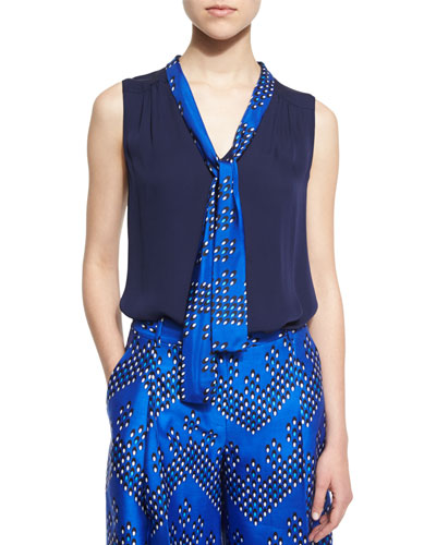 Britni Sleeveless Silk Top w/ Chevron Dots Trim, Midnight