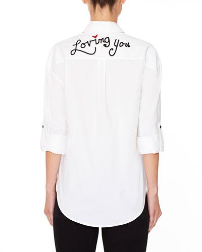 Brita Loving You Embroidered Boyfriend Shirt