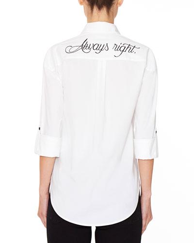 Brita Always Right Embroidered Boyfriend Shirt
