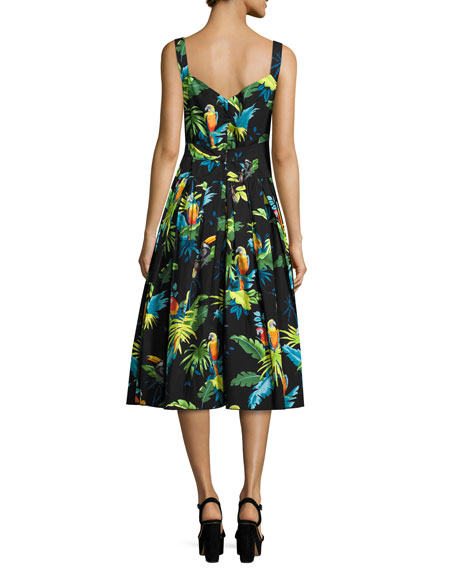 Parrot-Print Sleeveless Midi Dress, Black/Multi