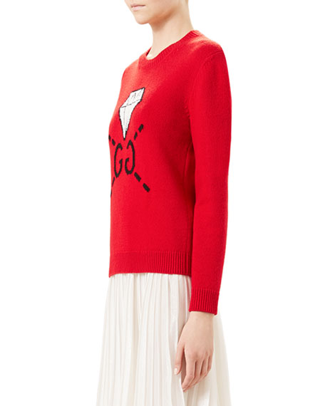 115e8a62 Gucci GucciGhost GG Diamond Knit Top, Hibiscus Red