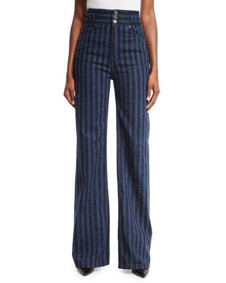 Striped High-Waist Wide-Leg Jeans, Indigo