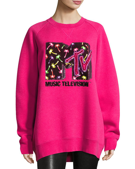 Marc Jacobs Sequined MTV Sweatshirt, Pink