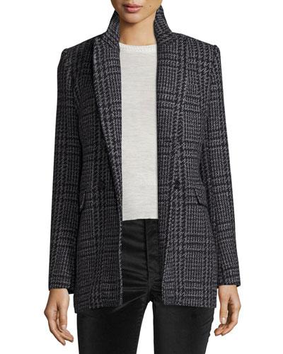 Gilane Plaid Tweed Jacket, Gray