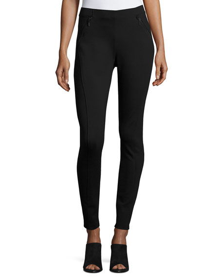Trina Zip-Pocket Skinny Pants, Black