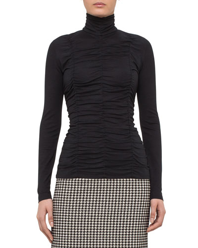 Ruched Turtleneck Top, Black