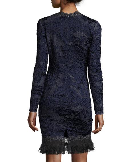 Camden Long-Sleeve Lace Dress, Navy