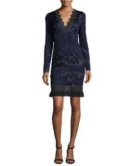 Camden Long-Sleeve Lace Dress, Navy