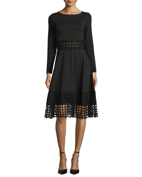 Lace-Panel Long-Sleeve Dress, Black