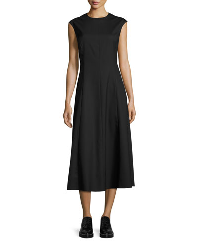 Cher Cap-Sleeve Midi Dress, Black