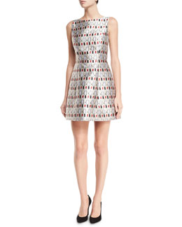 Lindsey Structured Cosmetics-Print Dress, Multicolor