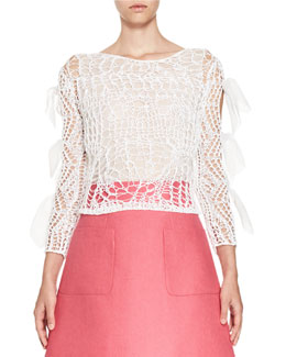 Bow-Sleeve Open-Knit Top, White