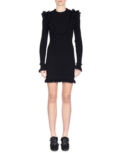 Long-Sleeve Ruffled Wave-Trim Dress, Black/Navy