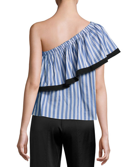 Ruffled One-Shoulder Striped Top, Blue