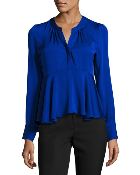 Brooke Long-Sleeve Stretch-Silk Peplum Top, Cobalt