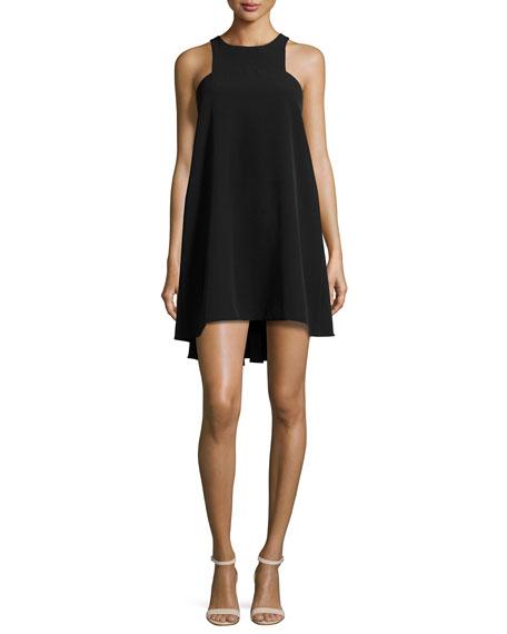 Sleeveless Angular Italian Cady Trapeze Dress, Black