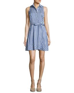 Sleeveless Striped Tie-Waist Shirtdress, Blue