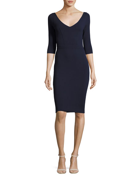 Claire 3/4-Sleeve V-Neck Sheath Dress, Navy