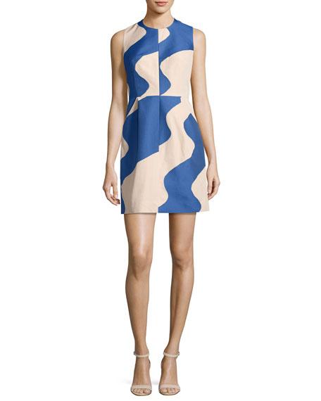 Coco Sleeveless Swirled Jacquard Minidress, Cobalt