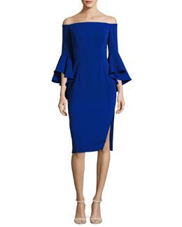 Selena Off-the-Shoulder Cady Sheath Dress, Cobalt