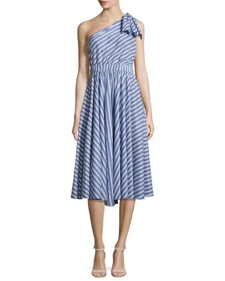 Anna Striped A-Line Dress, Blue